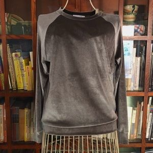 Silver velvet sweatshirt yoga holiday party NYE